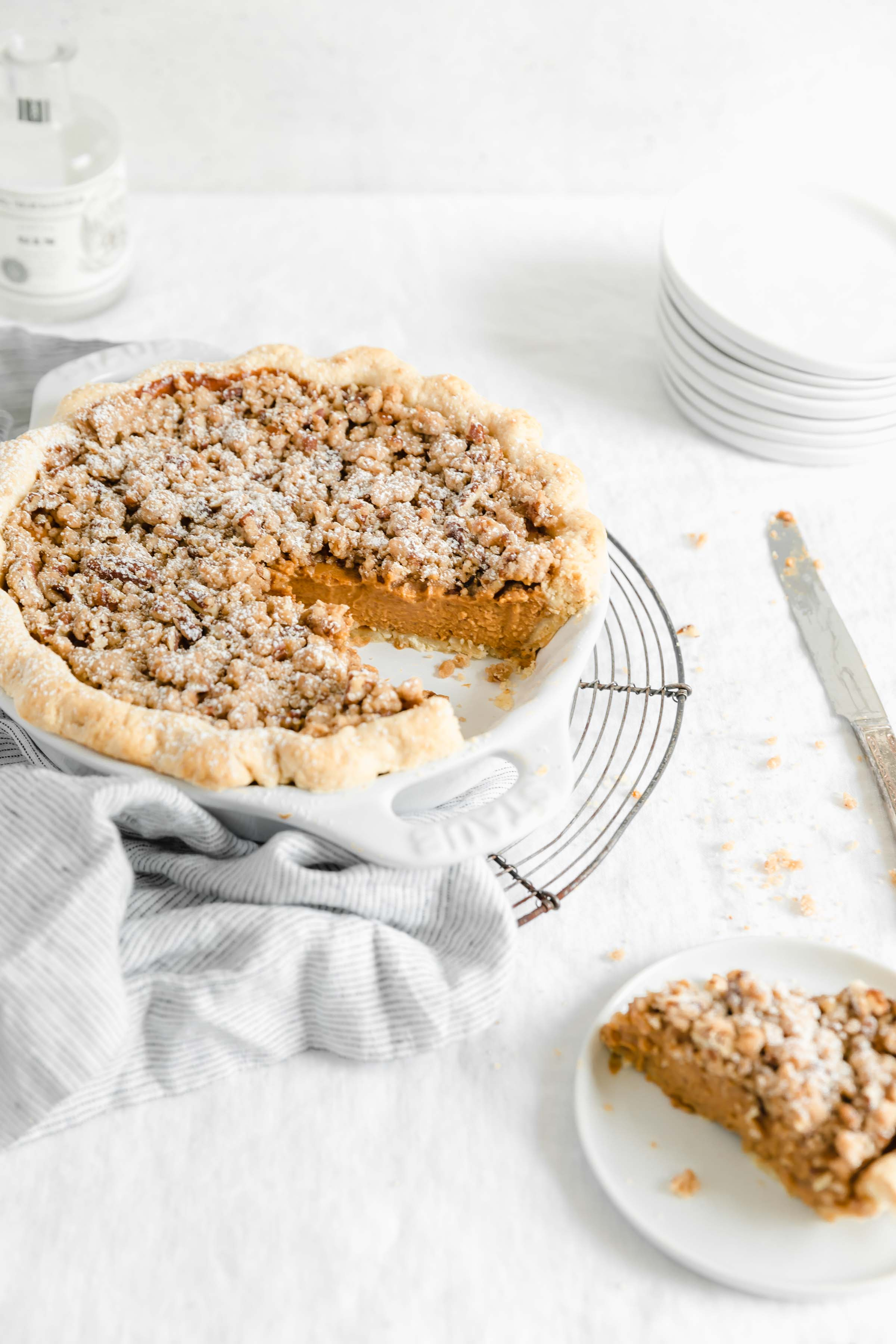 Silky smooth sweet potato crumble pie with a decadent streusel topping