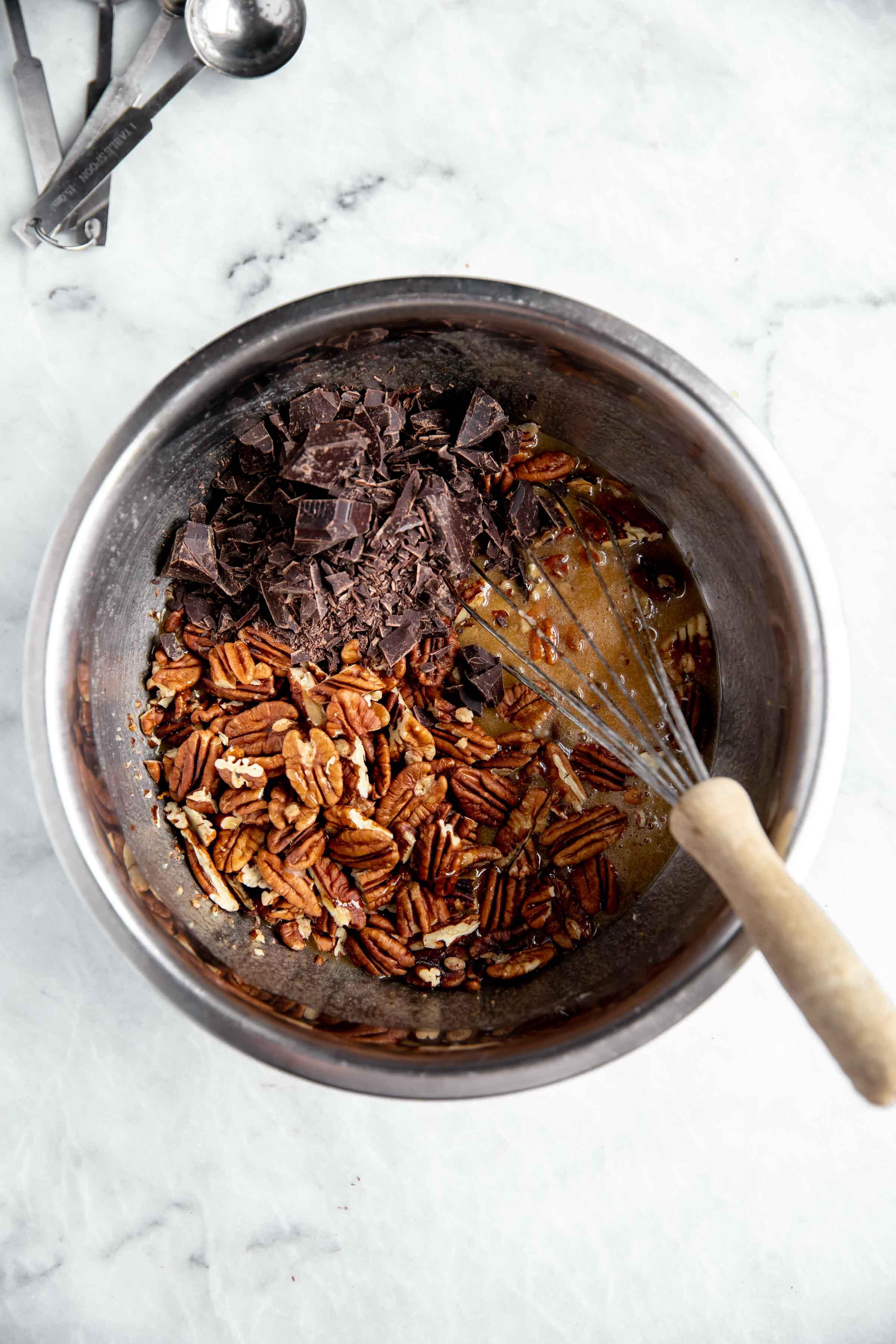 processus processus aérien de tarte aux noix de pécan au chocolat bourbon