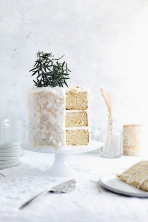 Time to pull out all the stops for christmas with this buttery coconut cake. The perfect centerpiece for your holiday dessert table!