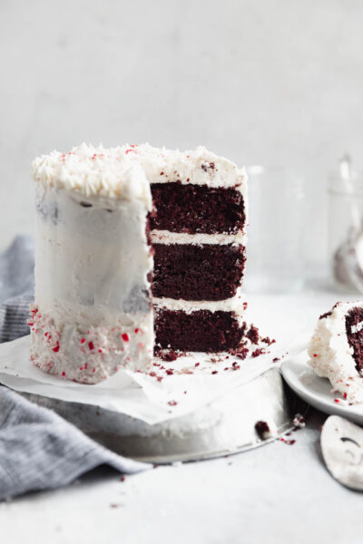 Channel all that holiday spirit into this peppermint chocolate cake AKA rich fudgy chocolate cake with thick layers of homemade peppermint buttercream! Yum!