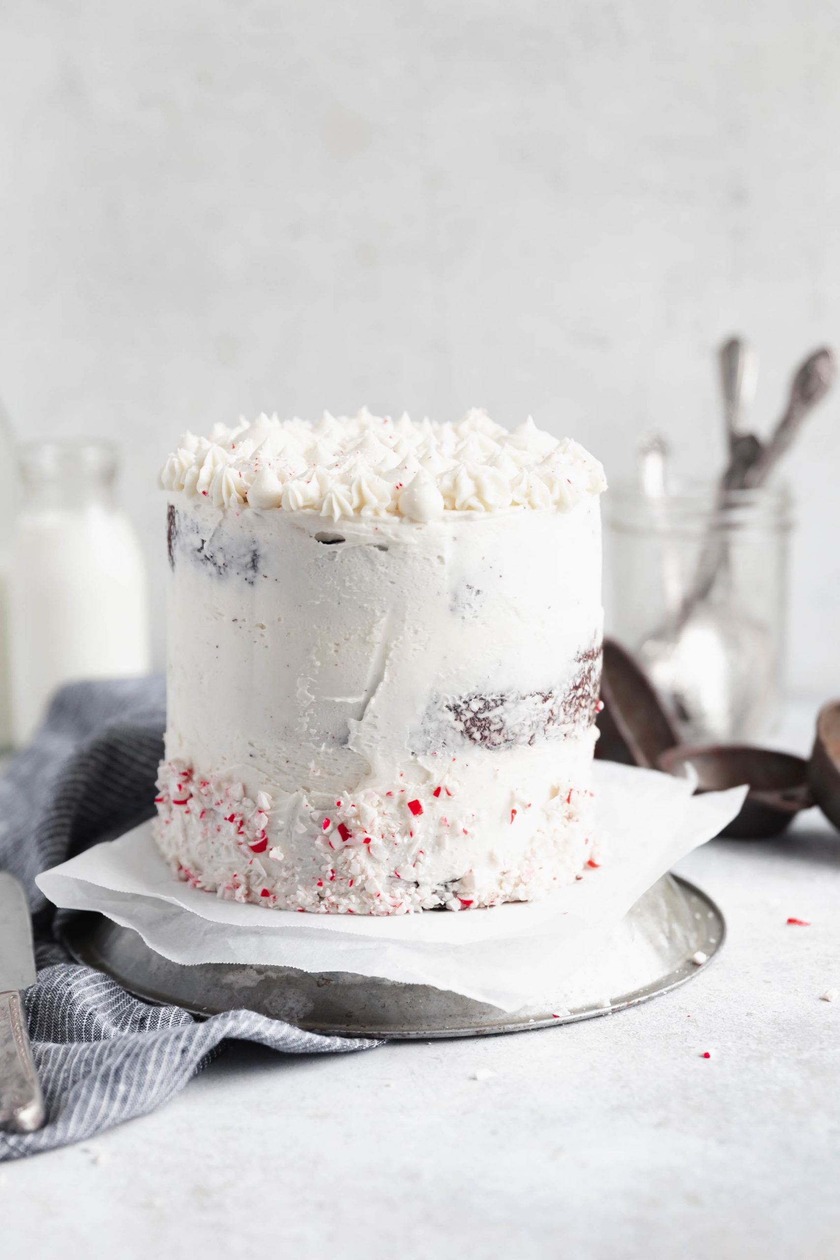 peppermint chocolate cake with crushed peppermint decoration
