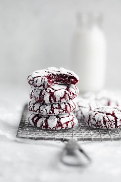 These fudgy red velvet crinkle cookies are the perfect festive addition to your holiday cookie baking!