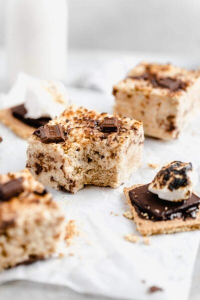 S'mores rice krispie treats with a bite taken out