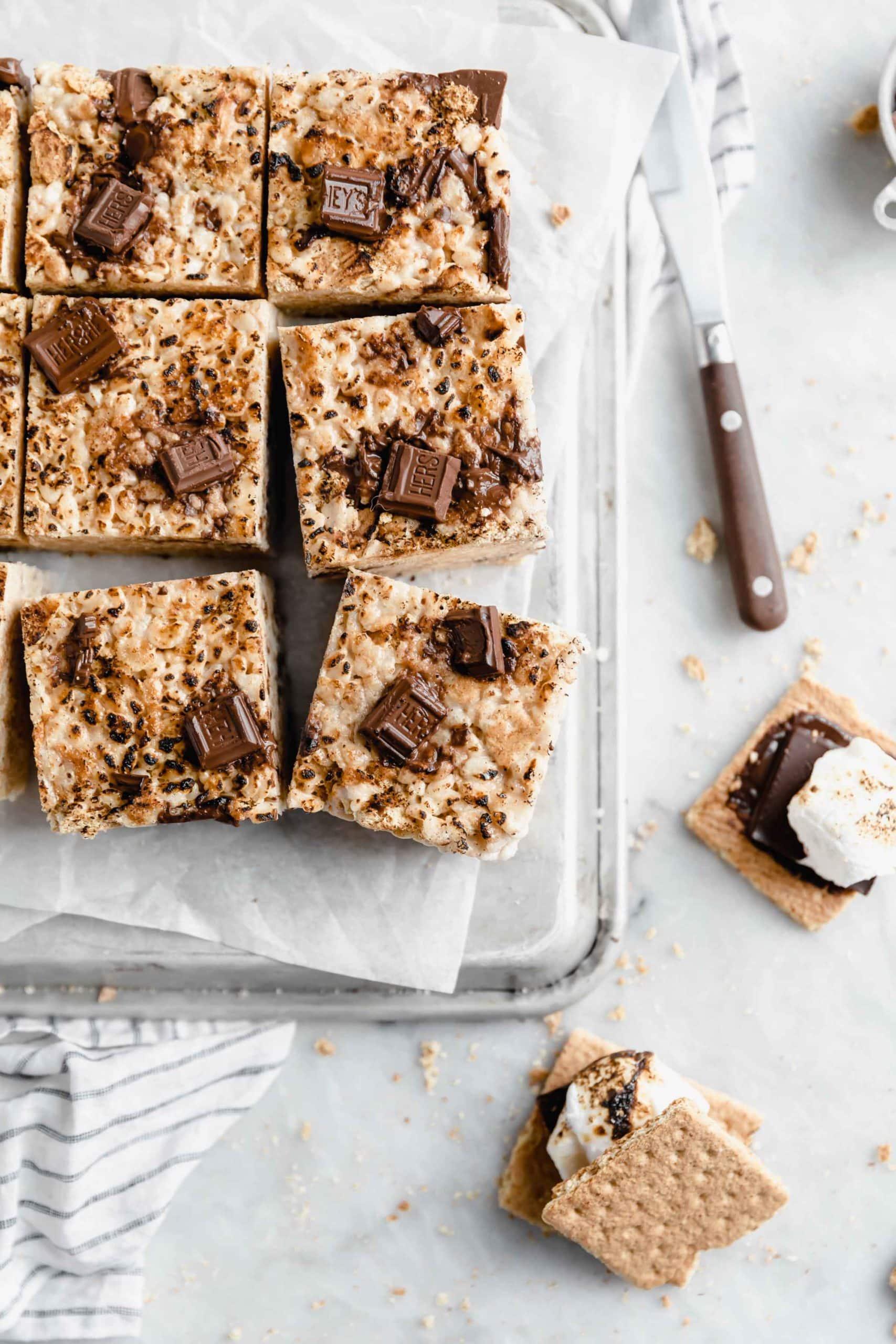 overhead shot of smores rice krispie treats with chunks of hersheys milk chocolate
