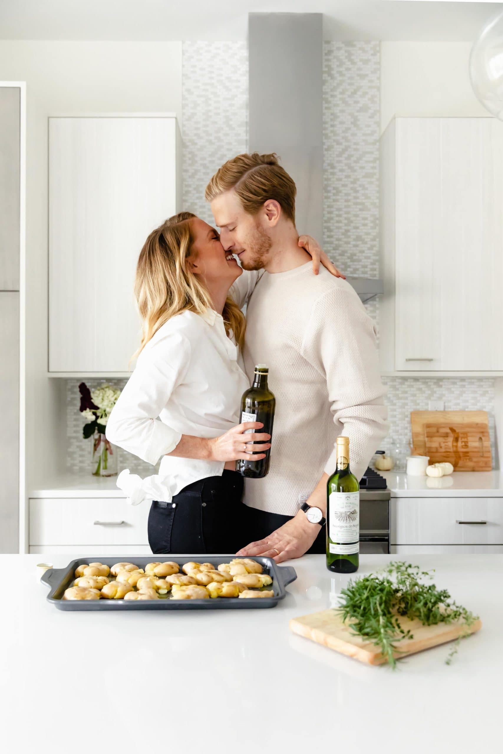 happy newlywed couple holiday entertaining