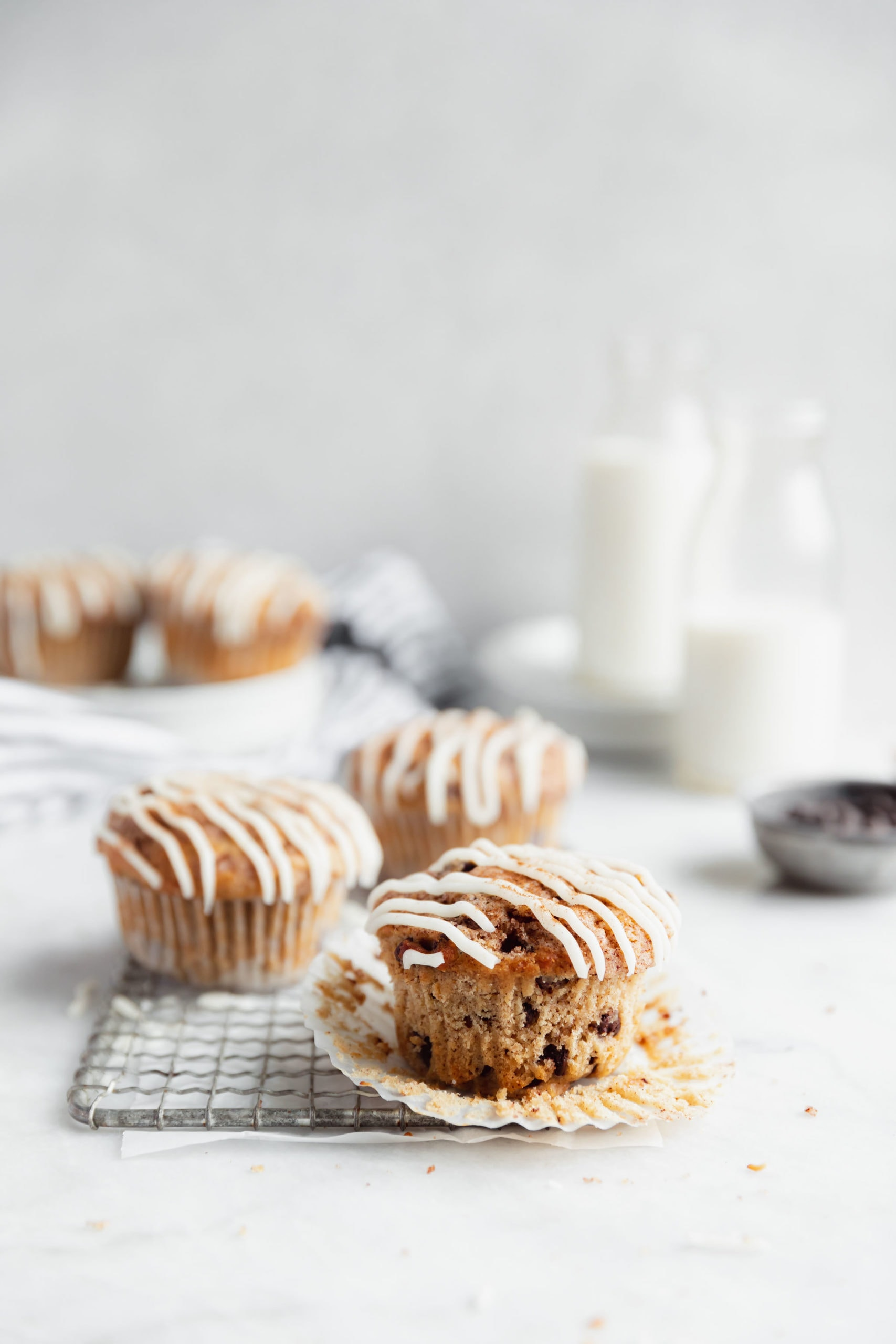 cinnamon chocolate chip muffins filled with ribbons of buttery cinnamon sugar