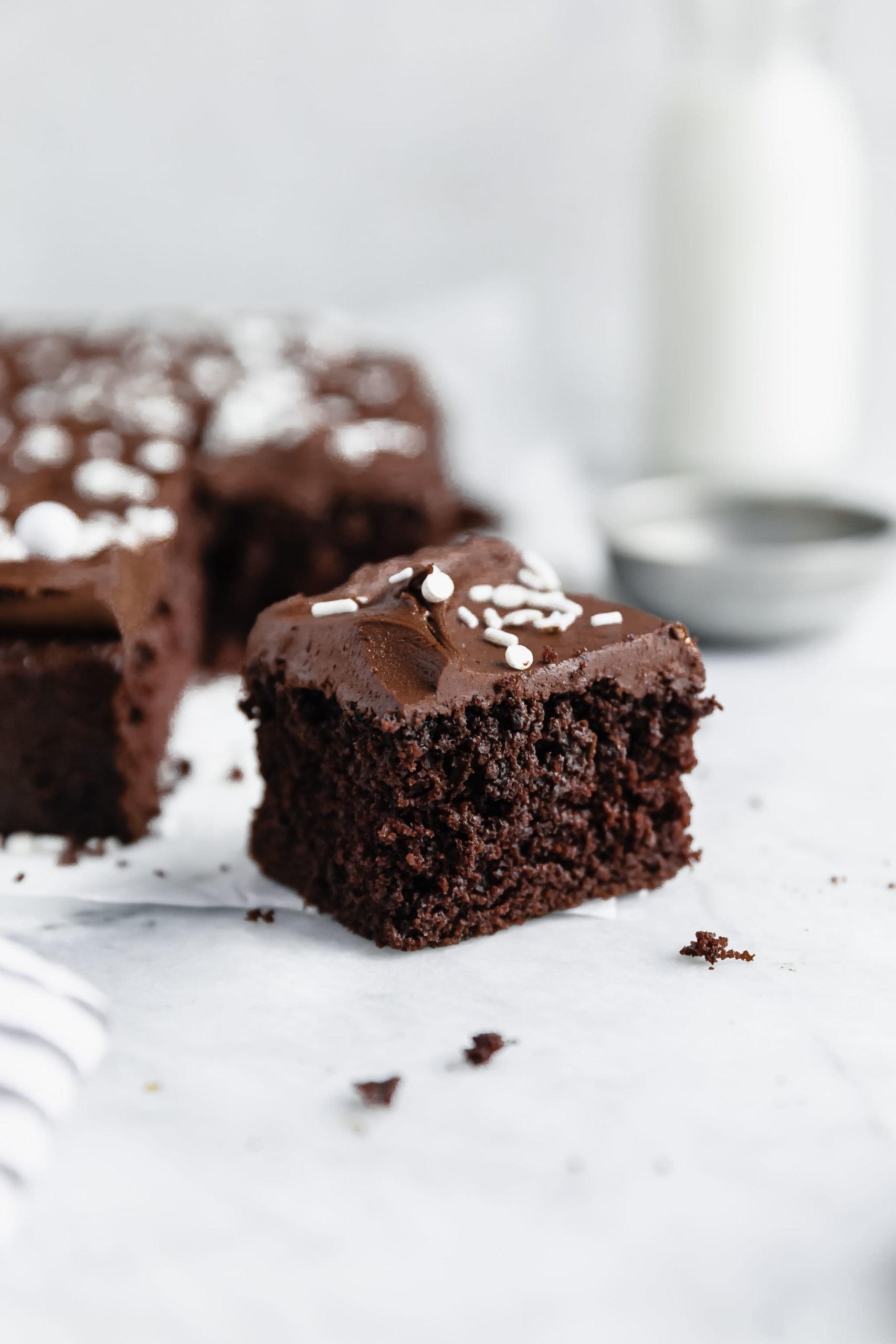 gluten free chocolate cake slice with decadent chocolate buttercream