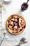 overhead shot of cherry swirled lightened up cheesecake