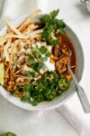 homemade chicken tortilla soup in a bowl