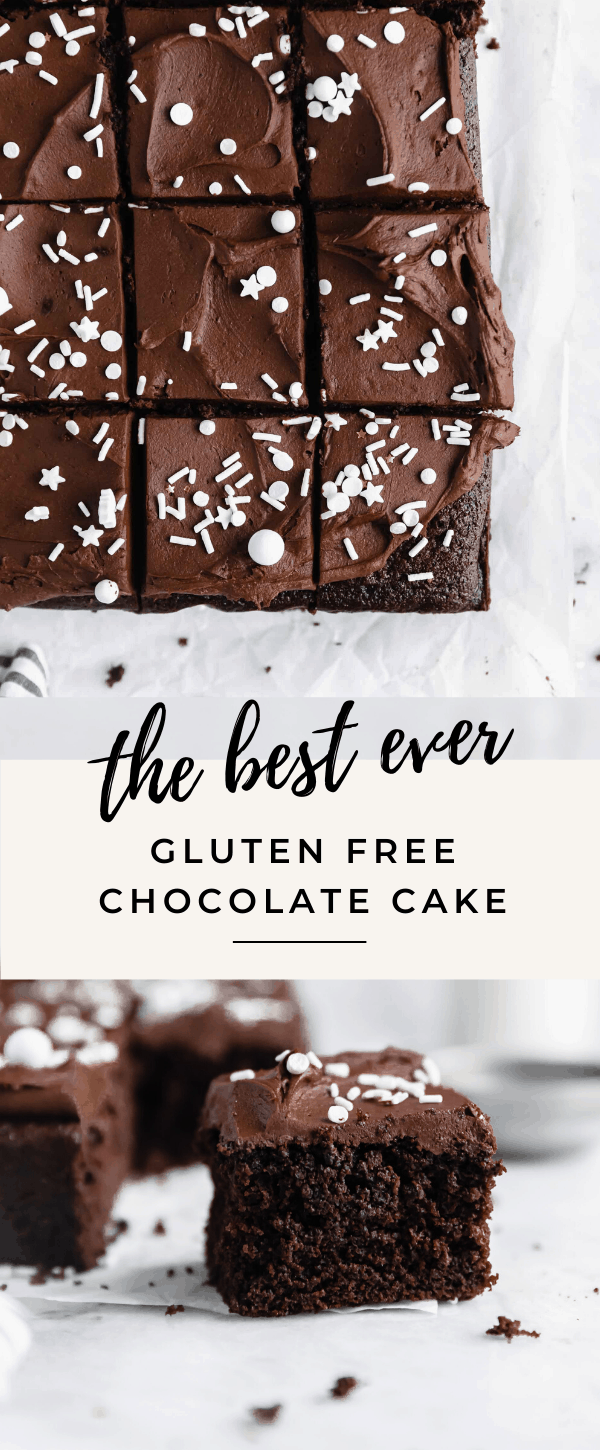The best easy gluten free chocolate cake recipe! It's moist, richy, fudgy and super easy to make!