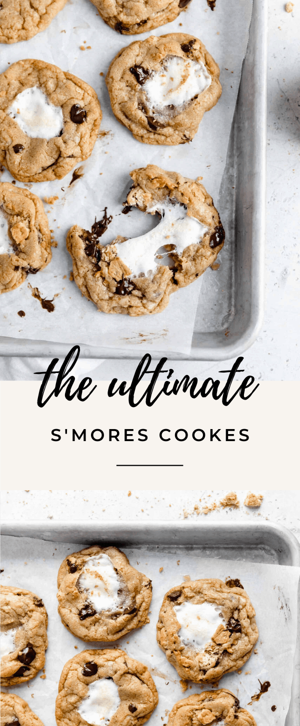 Introducing S'mores Cookies, complete with brown butter dough, chocolate chips, graham cracker crumbs and a gooey marshmallow center. Uh drool!
