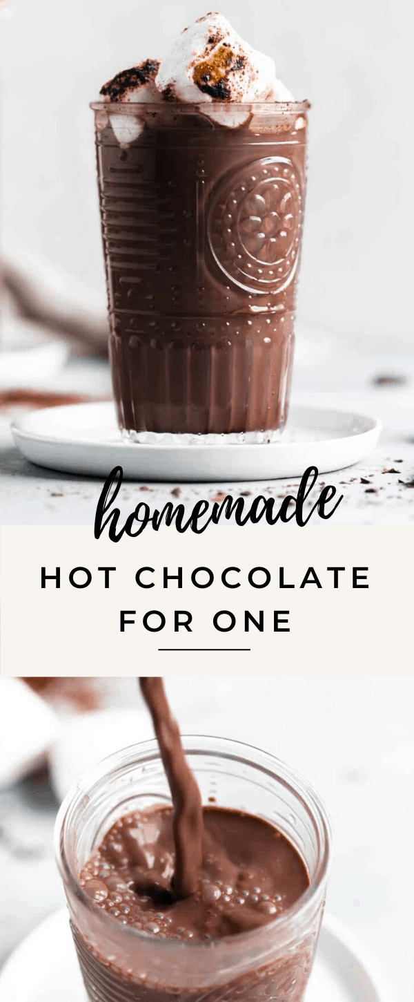 this perfectly chocolately homemade hot chocolate for one is the perfect single serving self care treat!
