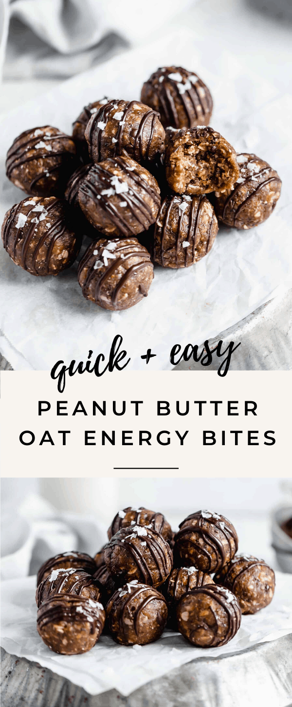 These quick and easy peanut butter oat energy bites are made with just 7 simple ingredients and packed full of protein!