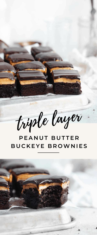 triple layer fudgy buckeye brownies recipe