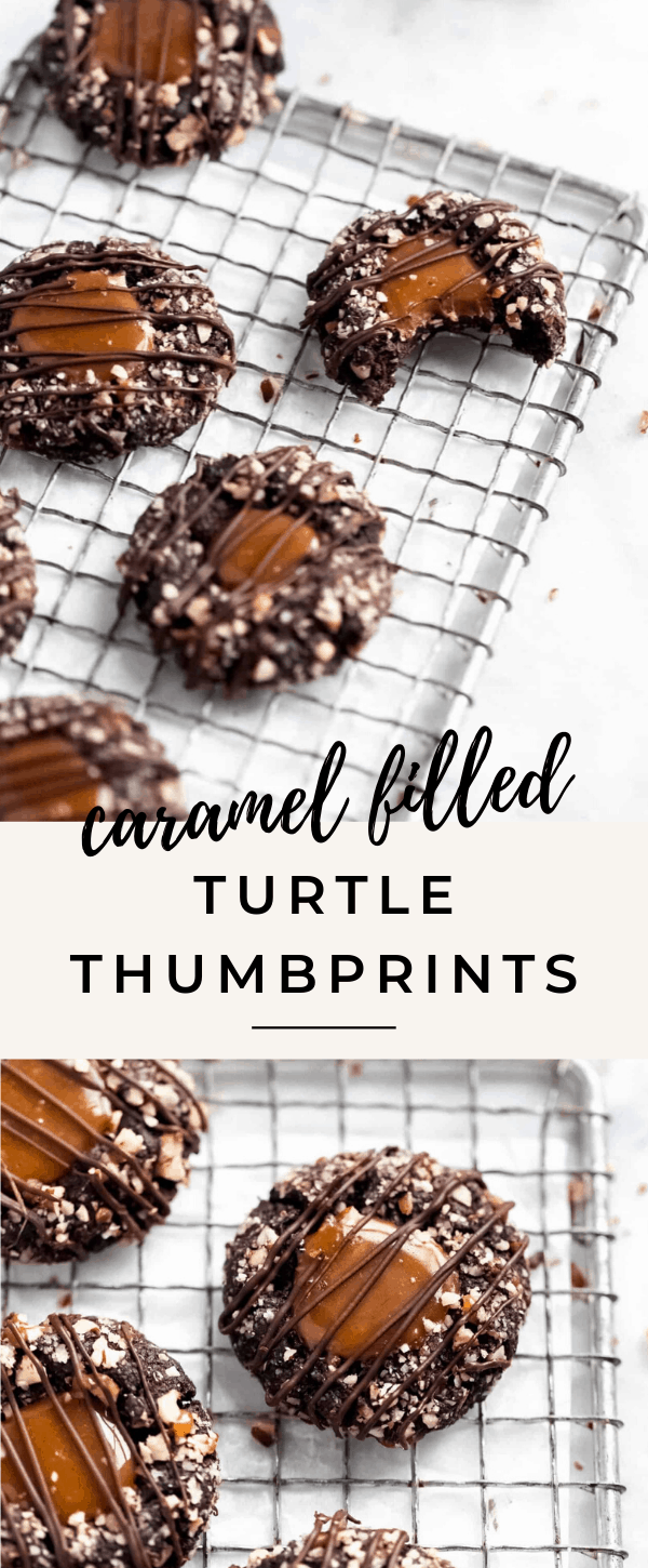easy caramel filled turtle thumbprints perfect for christmas