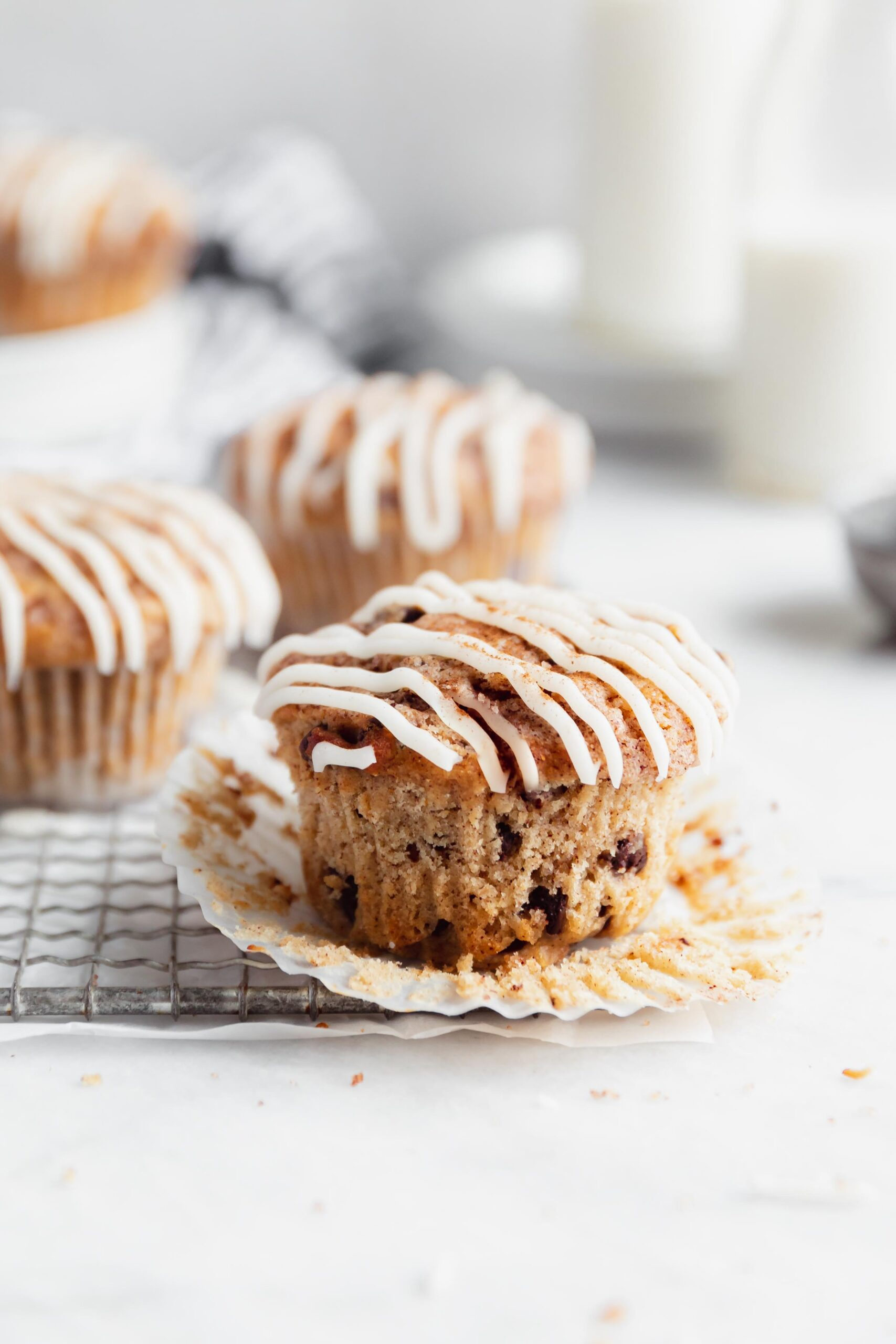 These buttery cinnamon chocolate chip muffins are swirled with ribbons of butter cinnamon sugar mixture