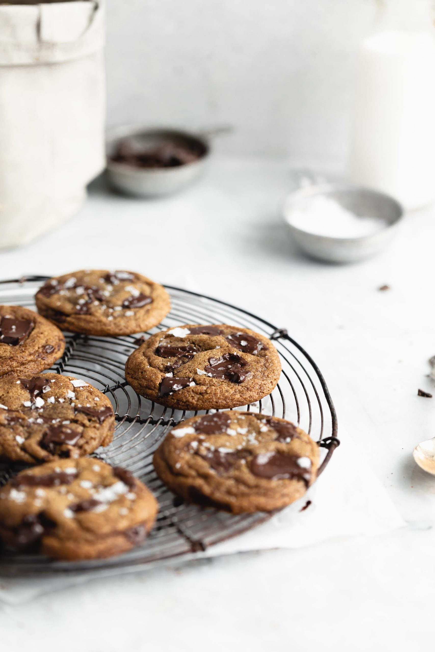 brown butter espresso chocolate chip cookies on a cooling rack