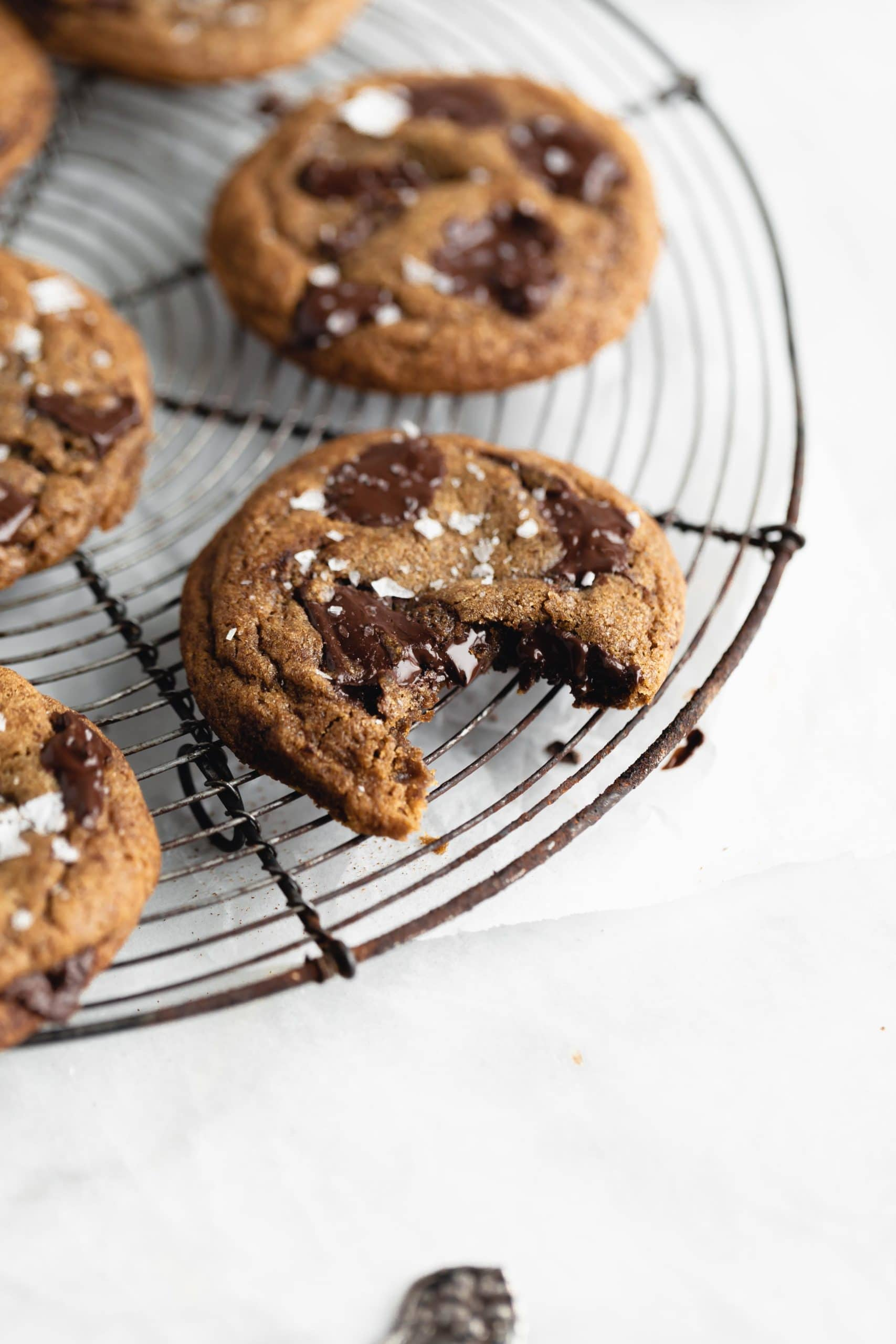 espresso chocolate chip cookies on a cooling rack