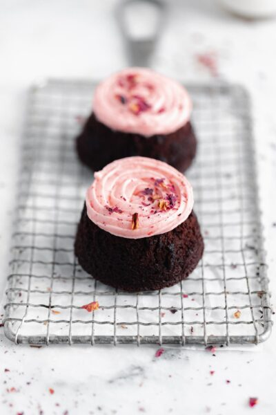 gluten free mini chocolate cake for two with strawberry buttercream