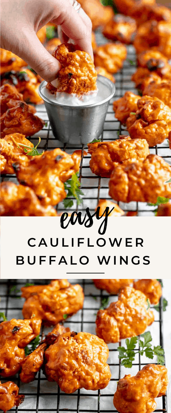 Whip up this easy buffalo cauliflower wings recipes for game day or a fun appetizer! Made with a crunchy buttermilk coating and a finger licking good buffalo coating, these vegan buffalo cauliflower wings are to die for!