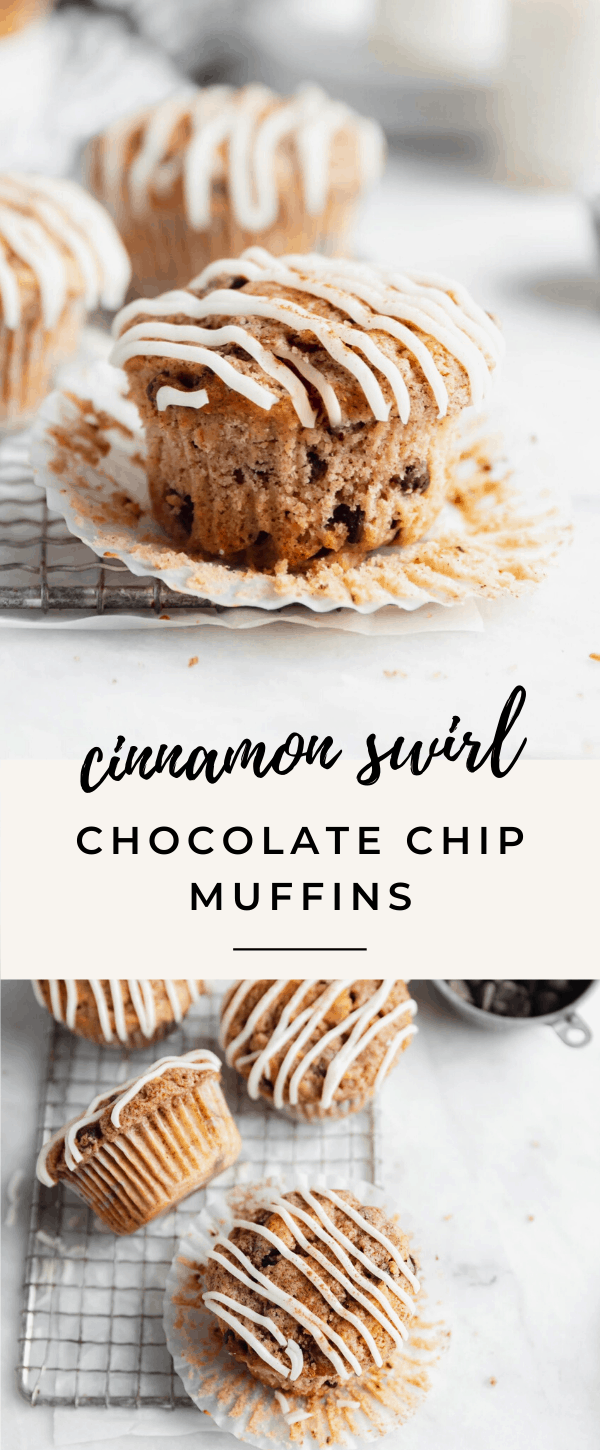 delicious and easy cinnamon chocolate chip muffins with big cinnamon swirls