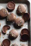 easy reeses macarons aka peanut butter chocolate macarons with a decadent peanut butter filling