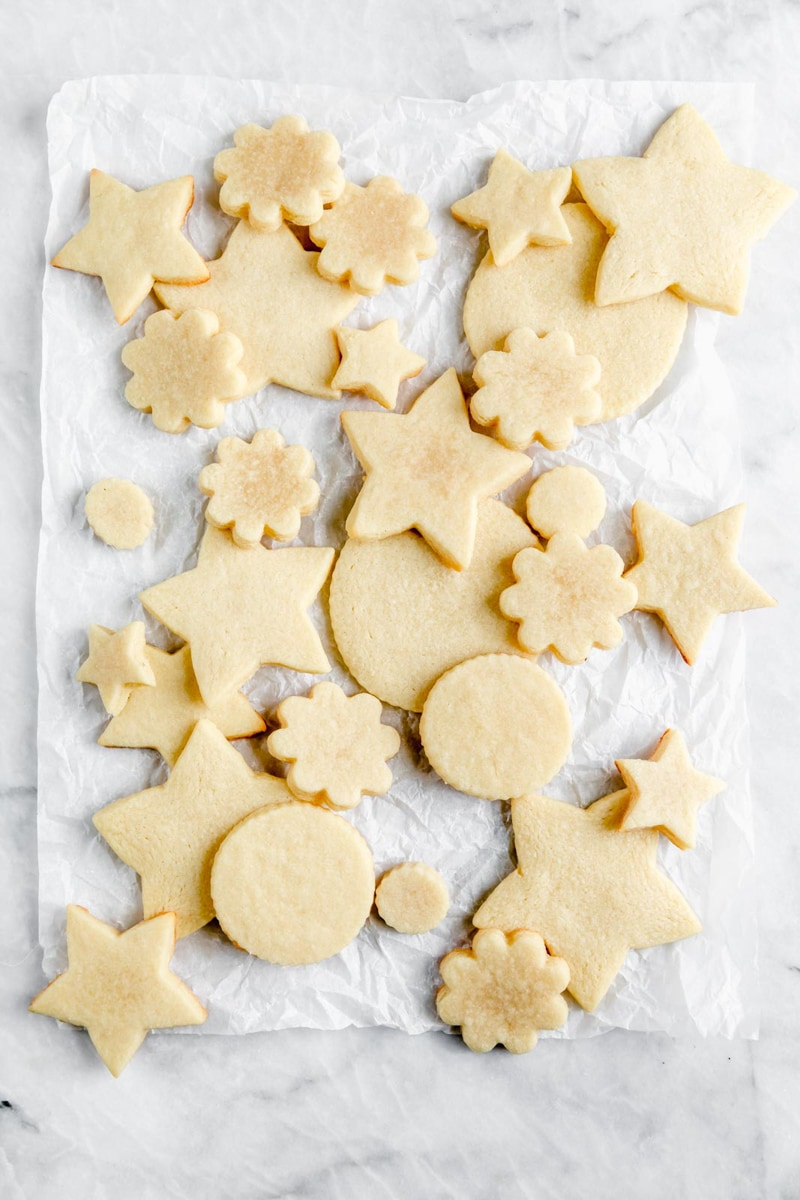 overhead shot of chewy cutout sugar cookies