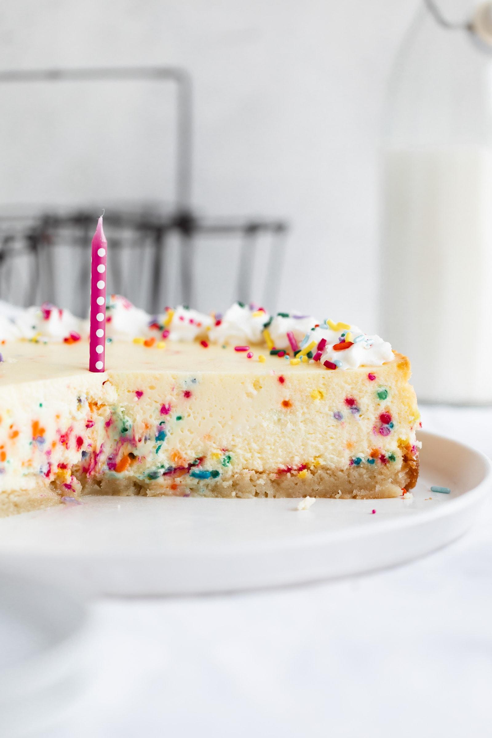 cross section of birthday cake cheesecake
