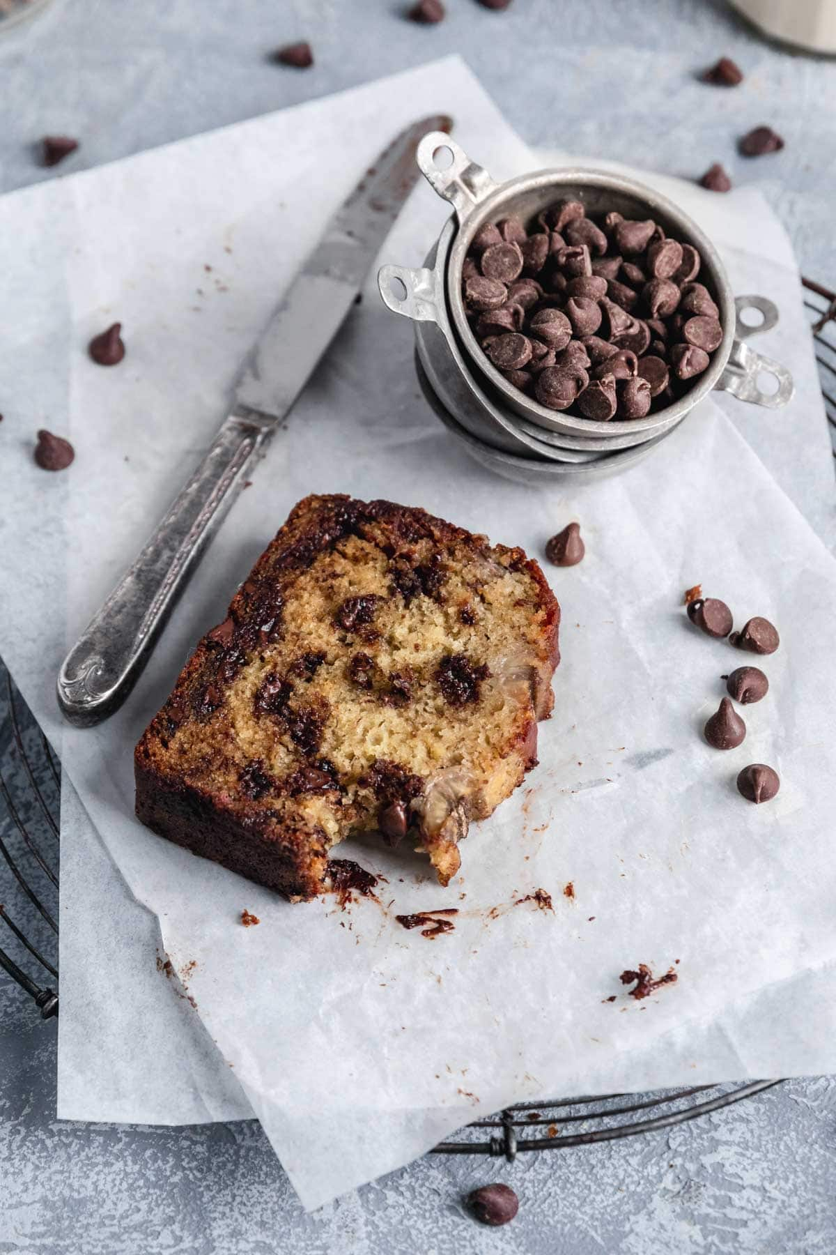 slice of chocolate chip banana bread