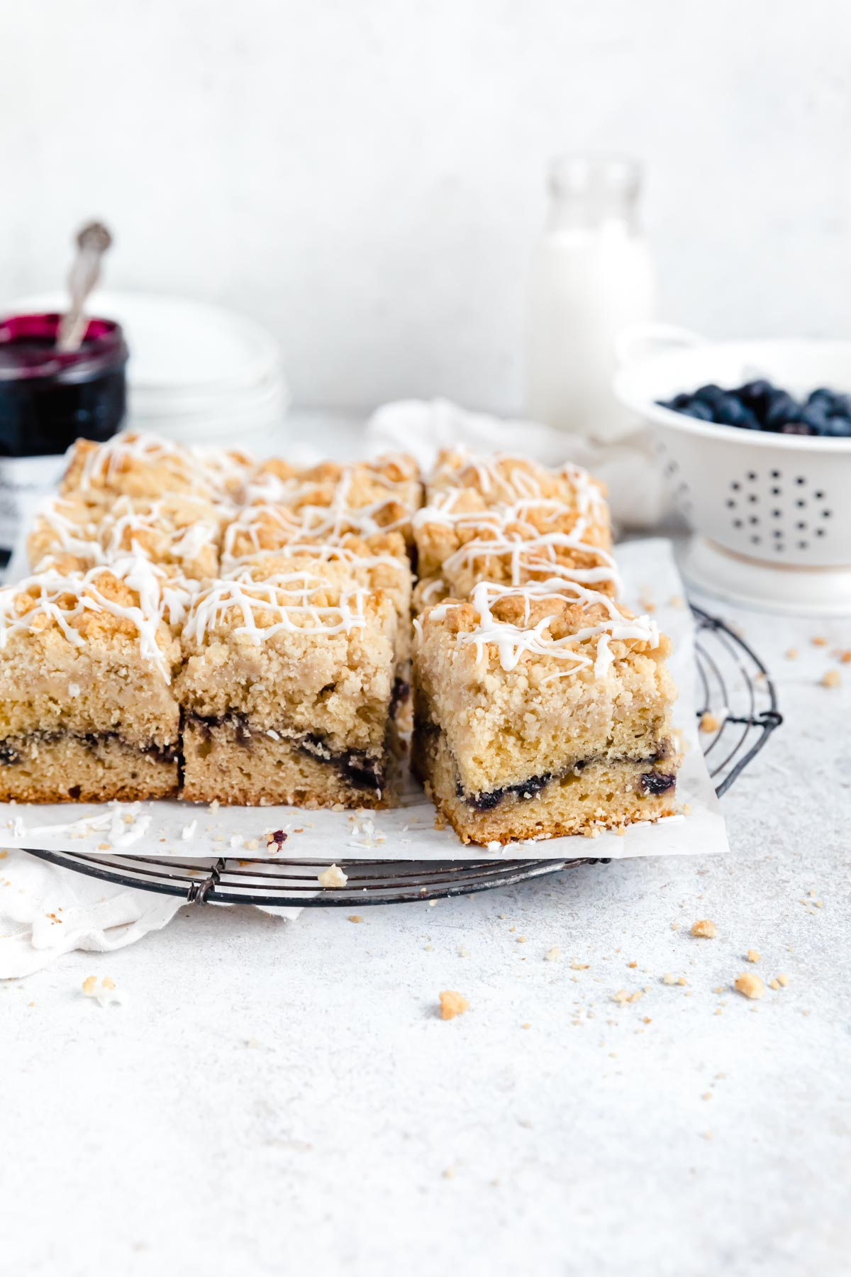 blueberry coffee cake with buttery streusel