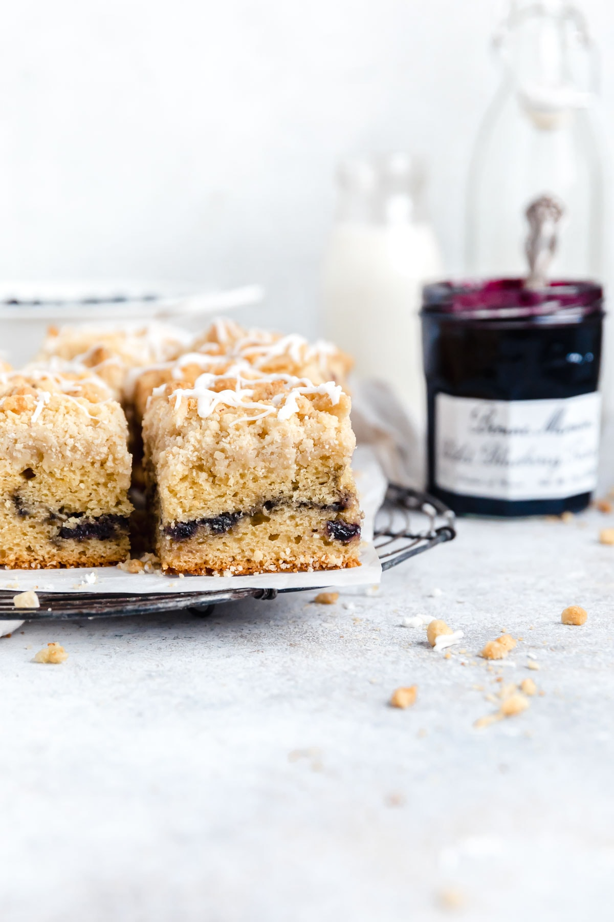 blueberry crumb cake on a plate