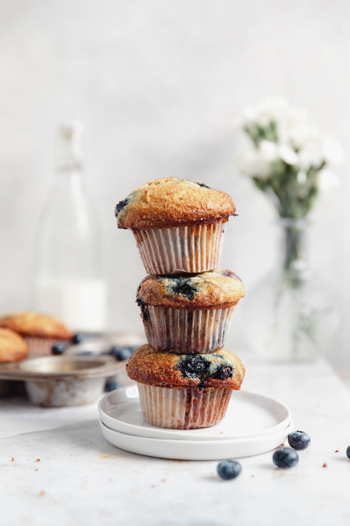stack of blueberry muffins