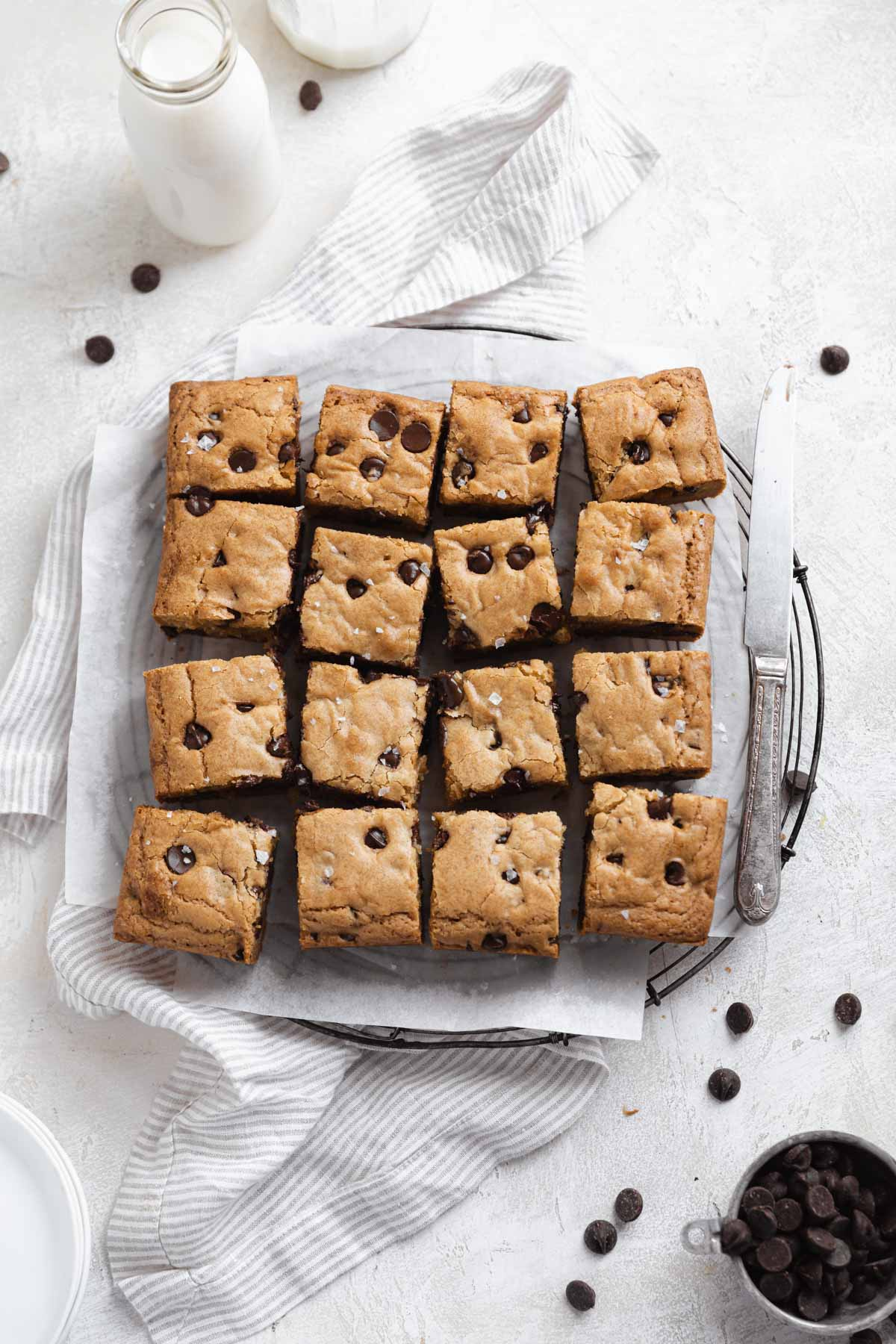 chewy chocolate chip blondies cut into squares