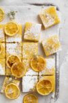 tangy lemon bars sprinkled with powdered sugar