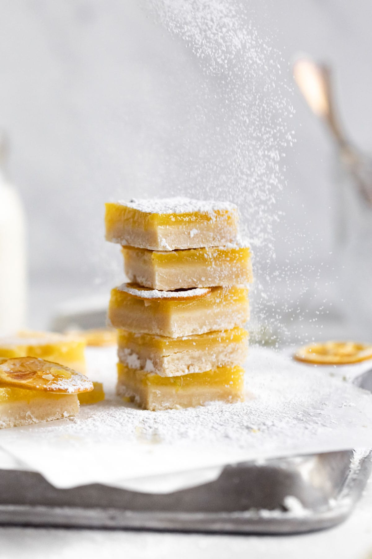 tangy lemon bars in a stack
