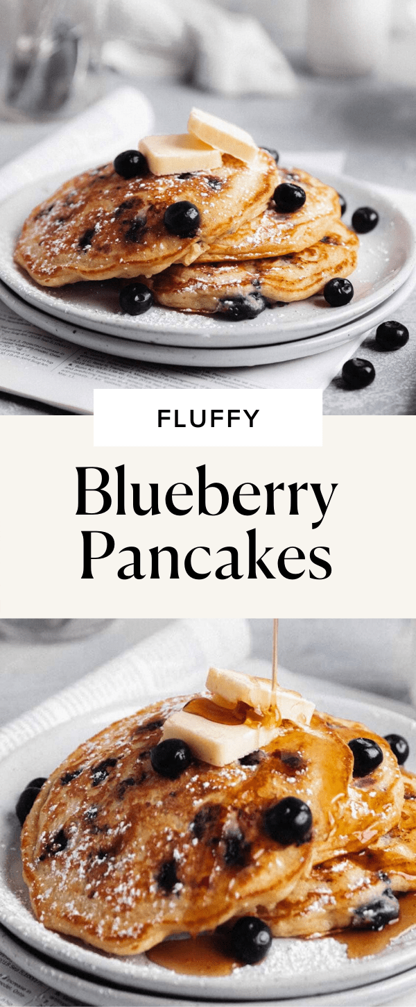fluffy blueberry pancakes pin