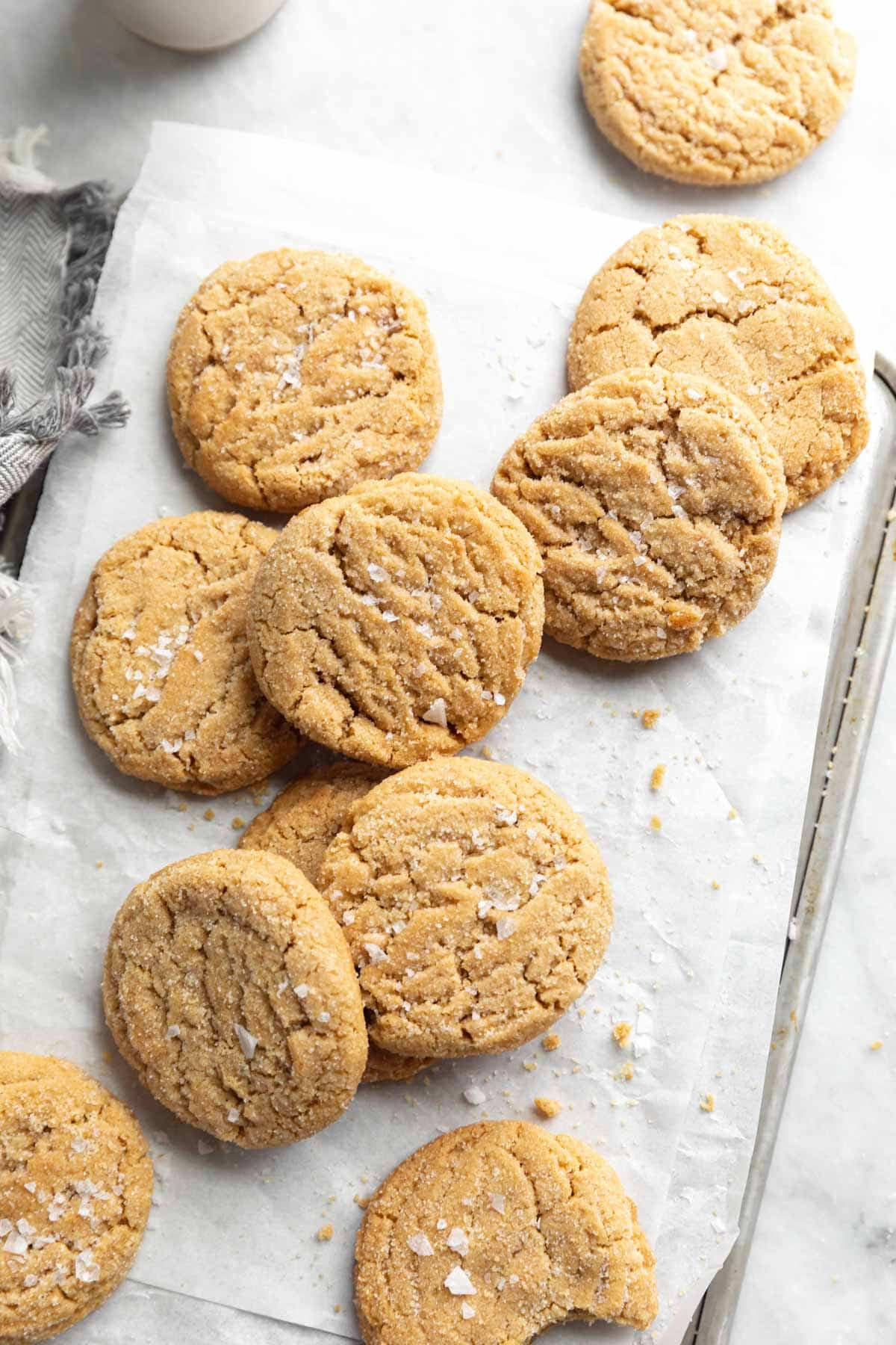 soft and chewy peanut butter cookies on a pan