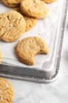 peanut butter cookies on a baking sheet