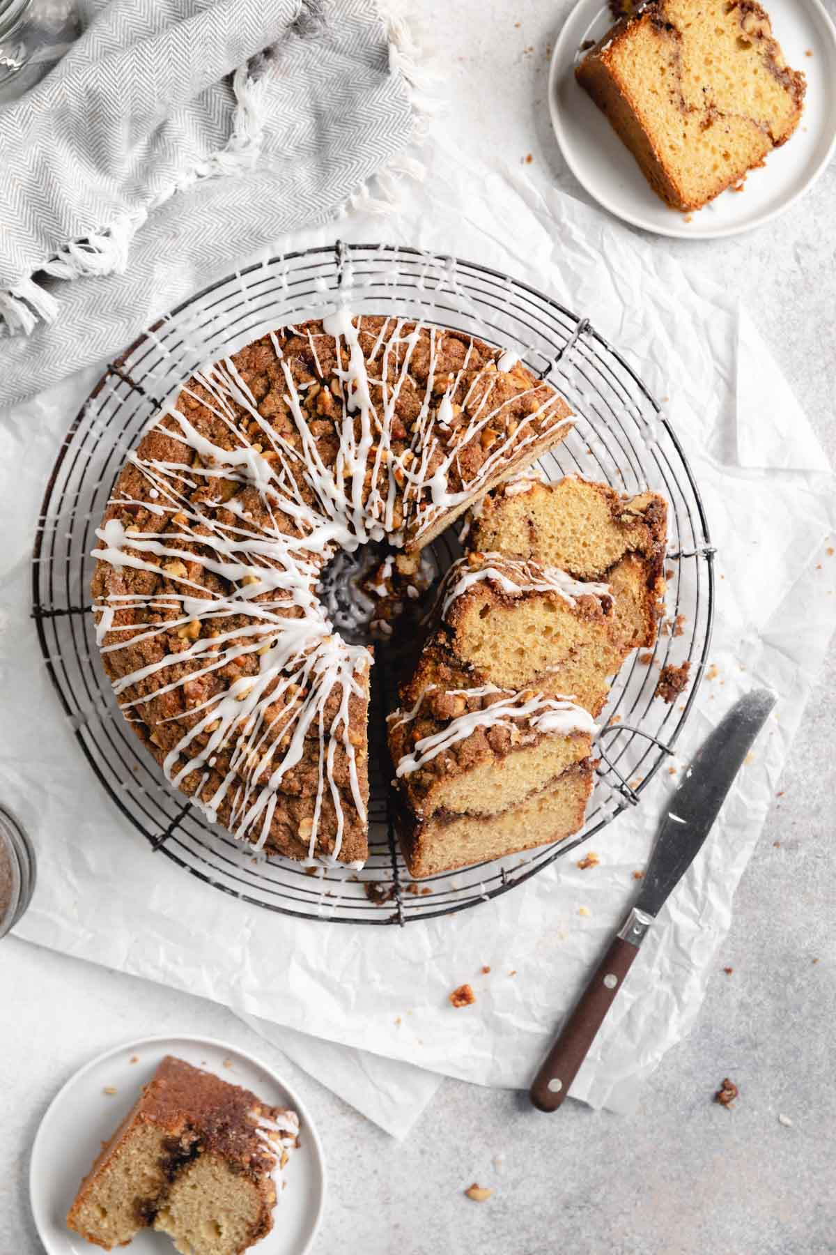 classic coffee cake on a cooling rack