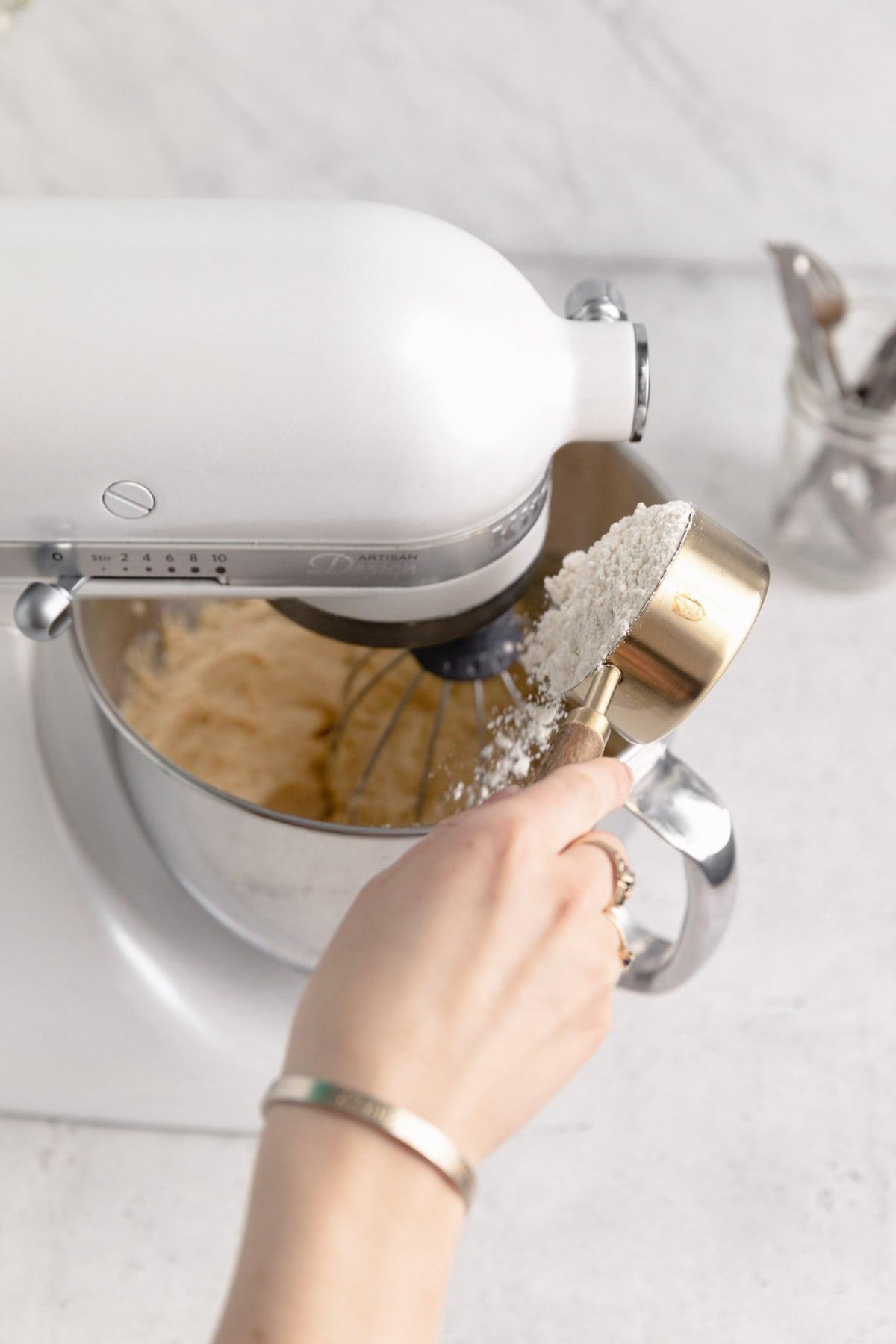 flour going into mixer