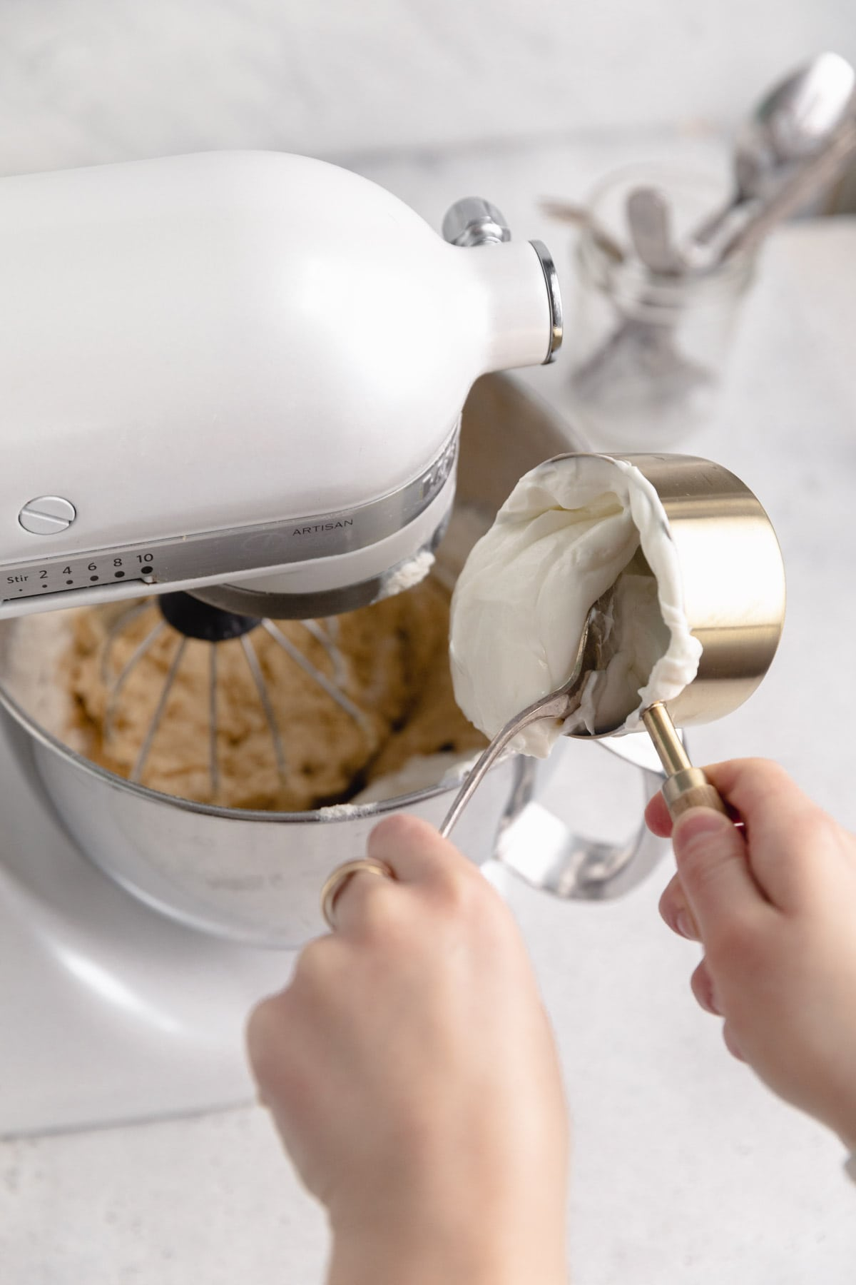 sour cream adding to batter