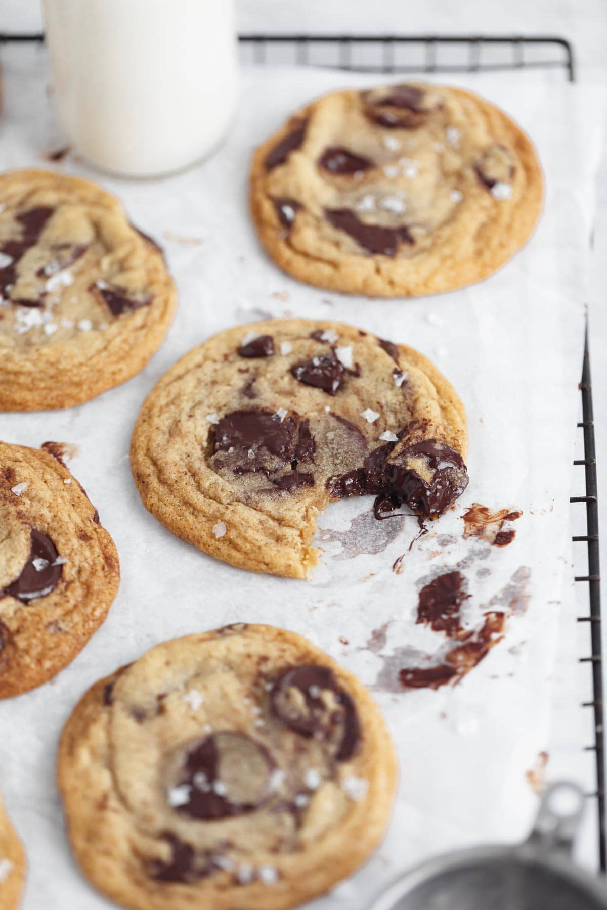 chocolate chip cookie with a bite out of it