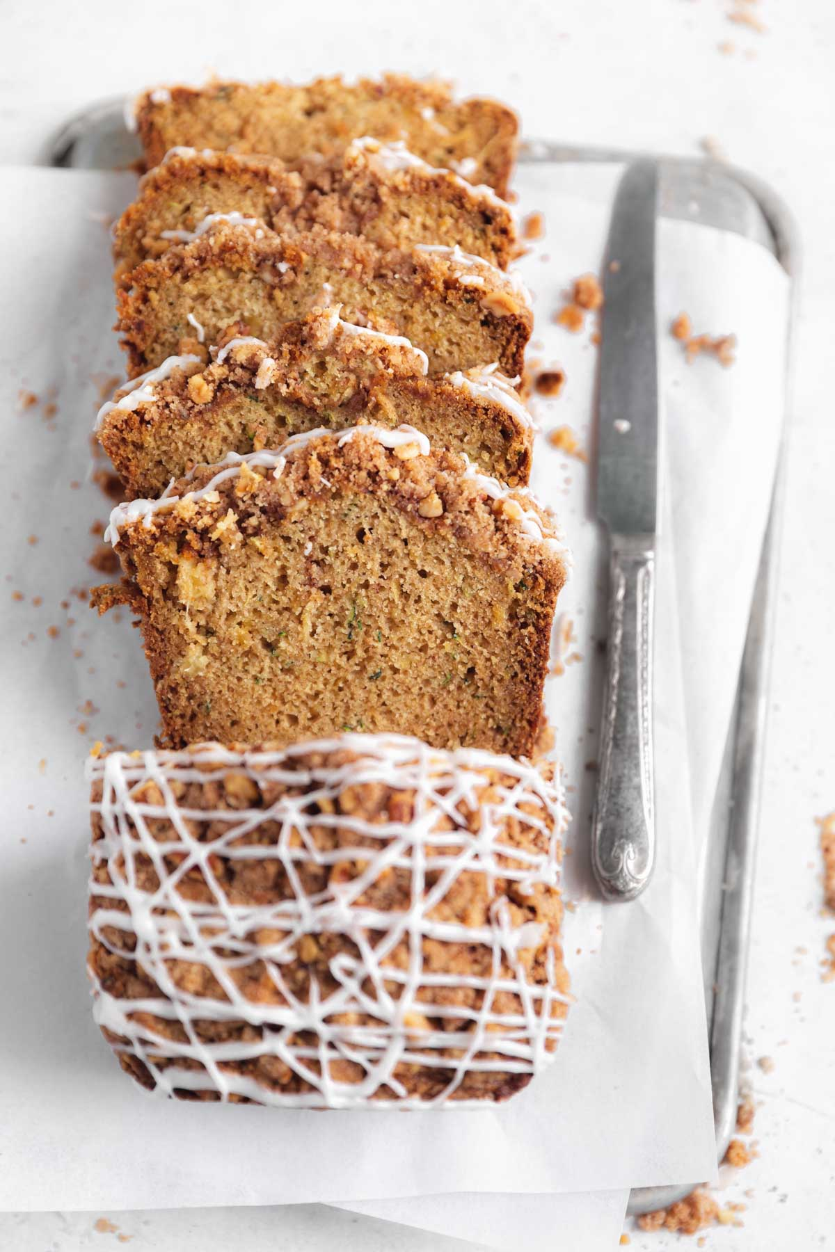the best zucchini bread with a crumb topping