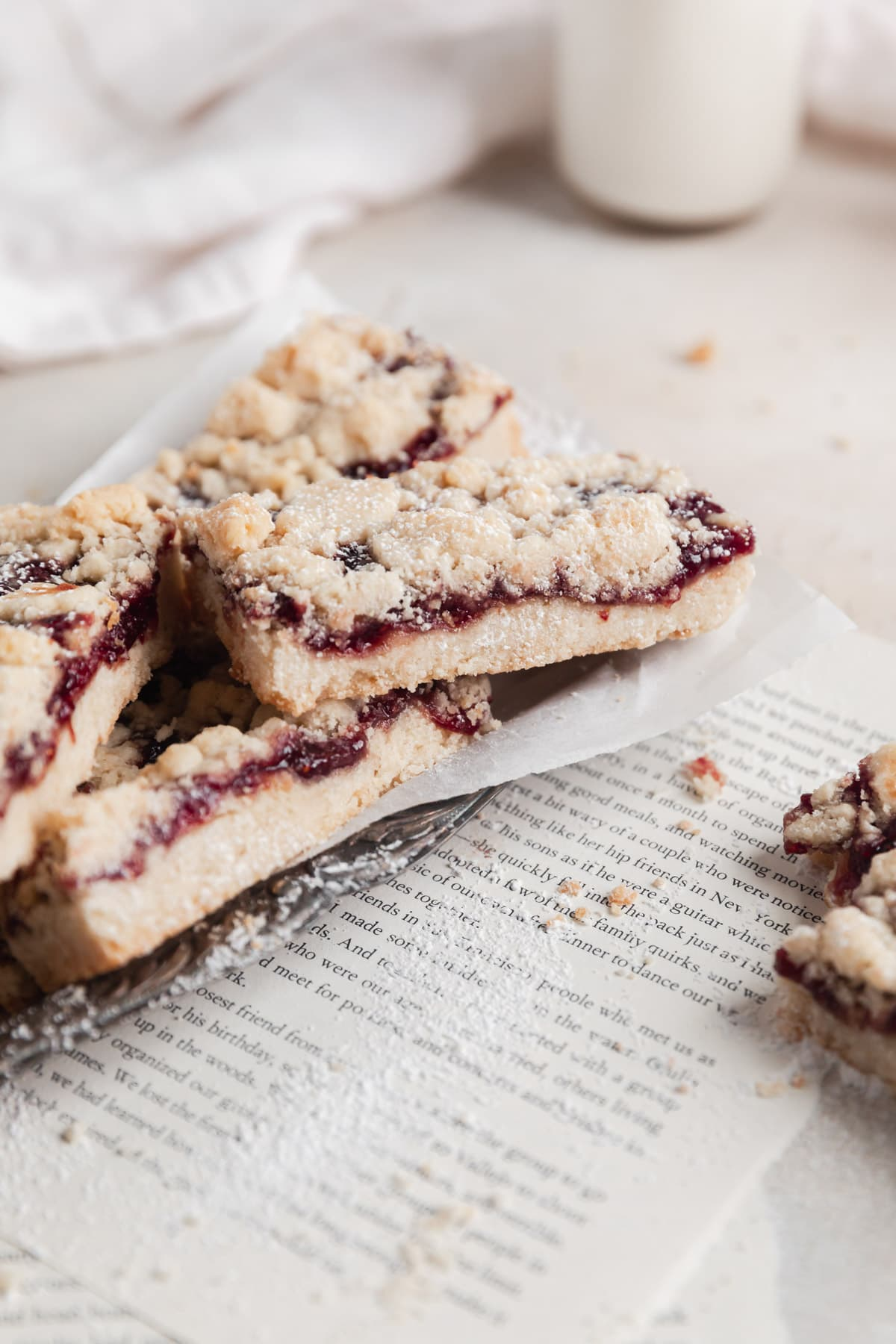 raspberry crumble bars cut into rectangles