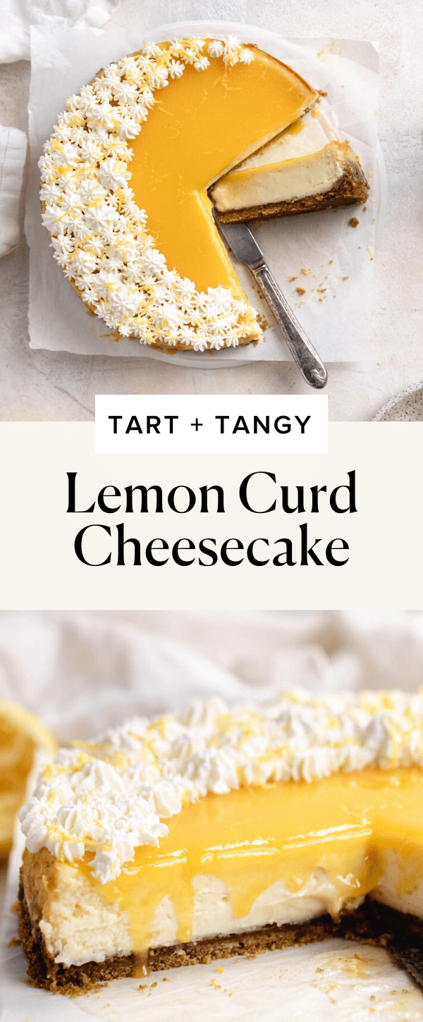 lemon curd cheesecake with whipped cream