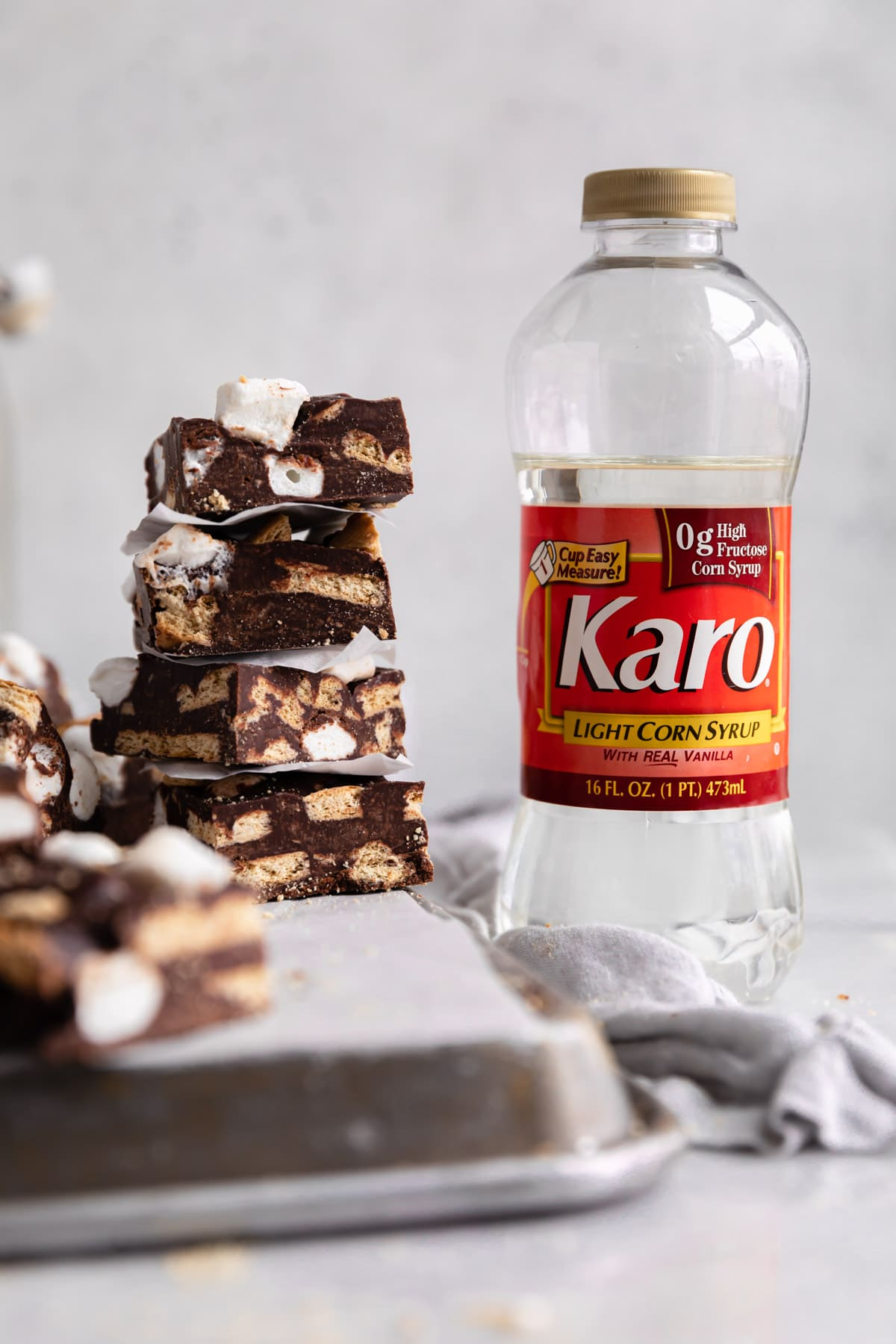 smores fudge stack with karo bottle
