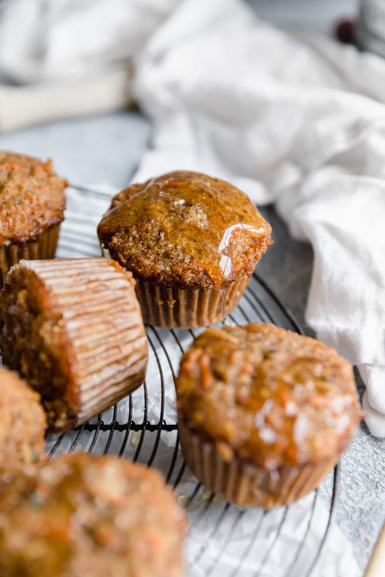 honey glazed morning glory muffins