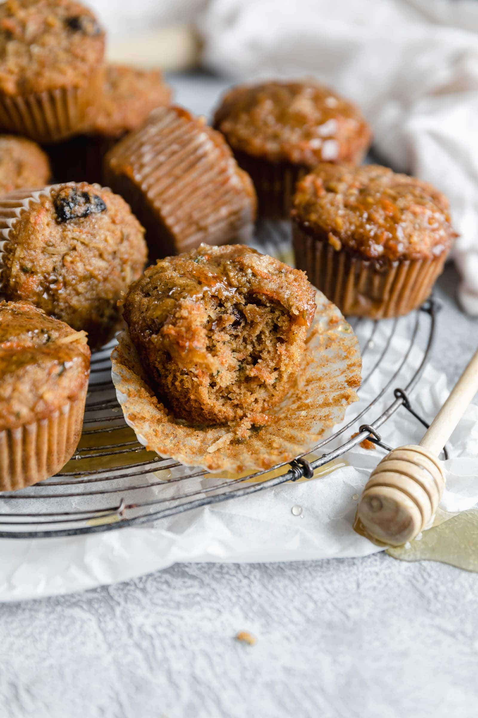 tender morning glory muffins with a bite taken out