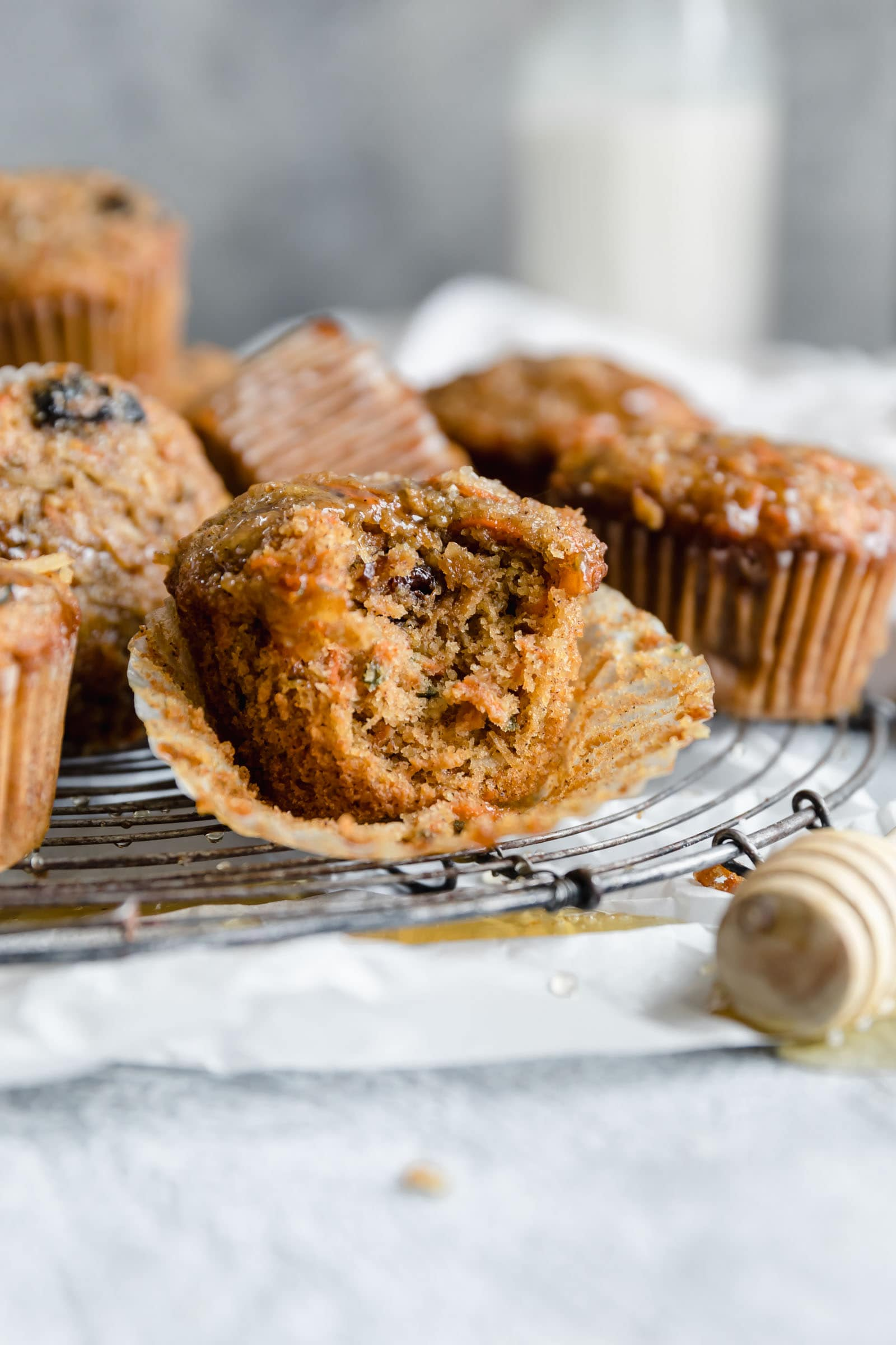 hearty breakfast muffins with bite taken out