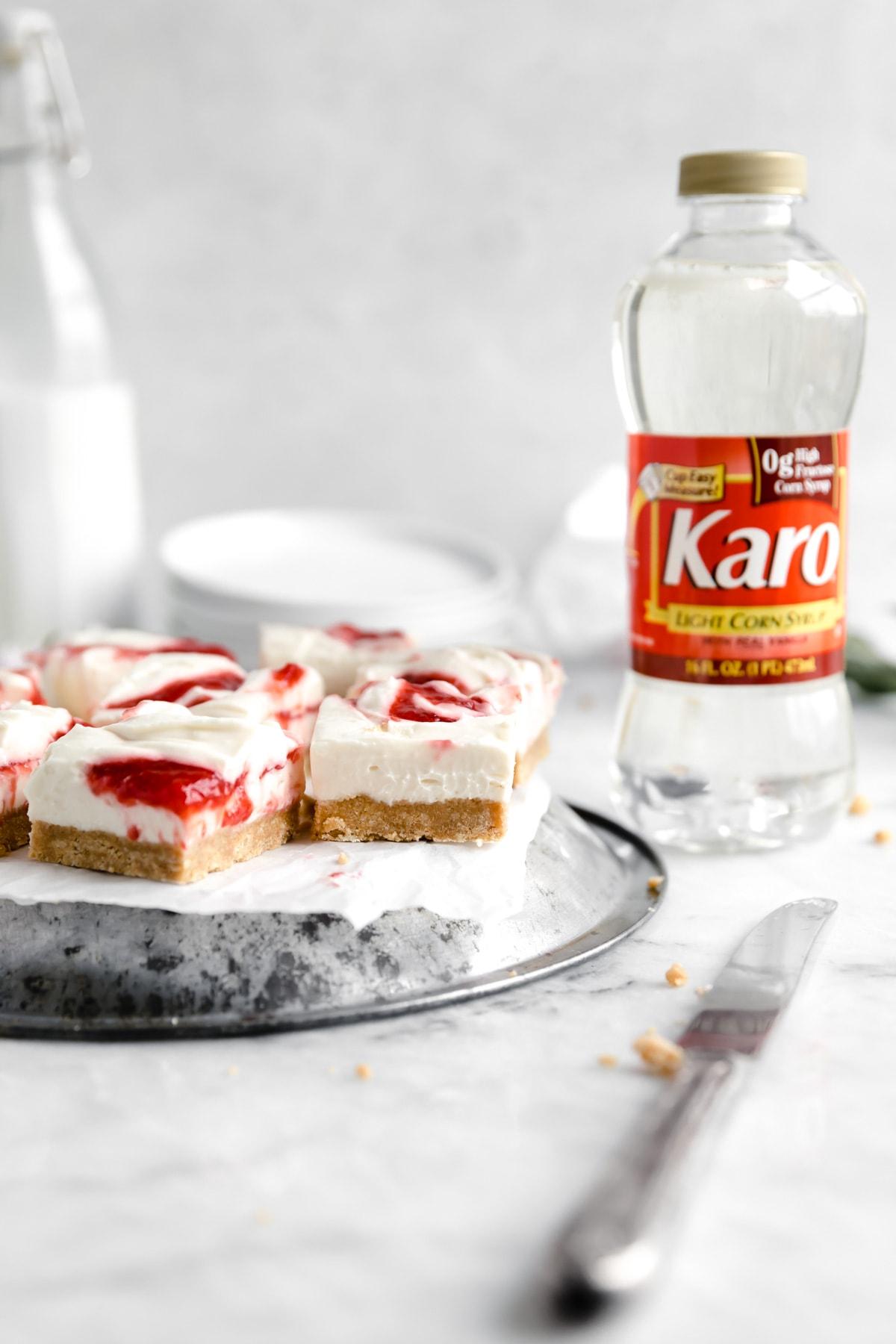 strawberry cheesecake bars with corn syrp
